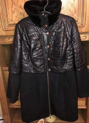 Оригінальне тепле комбіноване пальто