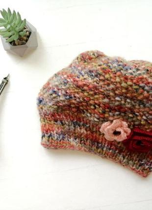 Шапка-берет, вязанная шапка