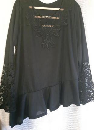 Новая женская блузка с кружевом, черная кружевная блуза с вышивкой на сетке.