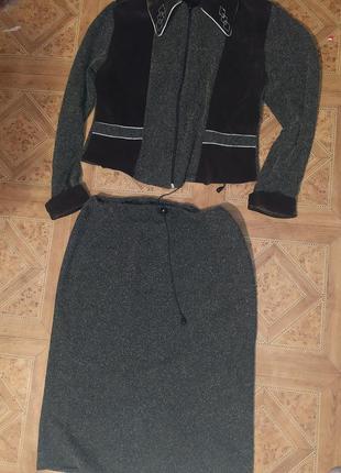 Костюм классический зелёный хаки бархат блестящая нить костюм пиджак юбка