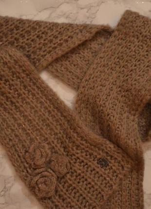 Вязанный шарф с блестящей люрексовой нитью цвета какао