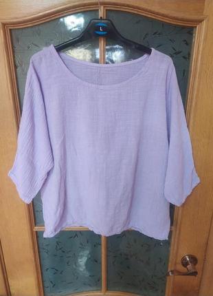 Блуза из марлевки шикарного лавандового цвета,р.m-l, италия