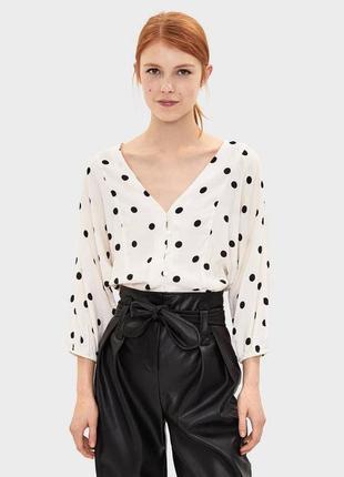 Новая кофта в горох bershka кроп топ блуза горшек бежевая винтаж