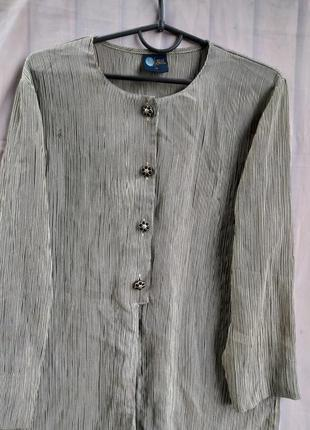 Класна блуза, сорочка, плиссе, жатка подовжена з розрізами збоків