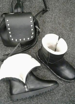 Зимние ботинки, унты, кожа натуральная, мех