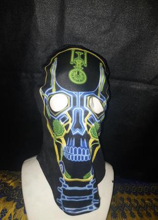 Головной убор маска на хеллоуин  скелет киберпанк