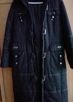 Красивое черное пальто прямого силуэта 14р