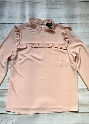 Блуза блузка рубашка с рюшами нежно розовая пудра