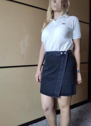 Черная выбеленная джинсовая юбка с запахом на запах asos