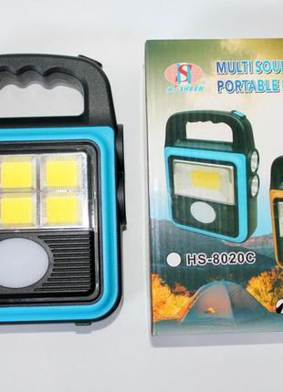 Портативный переносной светодиодный фонарь-лампа кемпинговый hs-8020d фонарик power bank