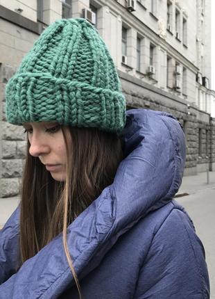 Шерстяная вязаная тёплая шапка