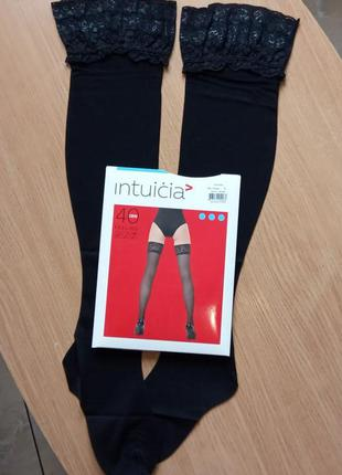 Черные чулки 2-s 40 den intuicia feeling на силиконе