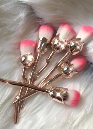 """Красивейший набор кистей для макияжа """"золотые розы"""" 6 шт"""