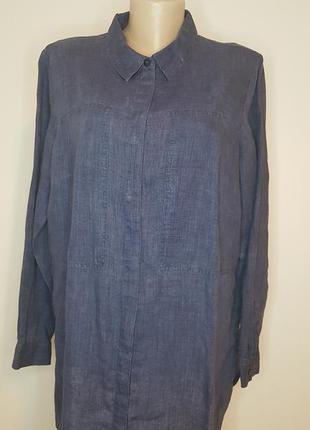 Сорочка большой розмер, блузка, 100% льон