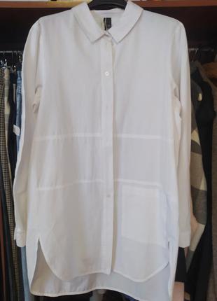 Белоснежная удлиненная рубашка.