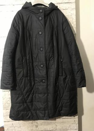 Стильная демисезонное удлинённая куртка пальто батал