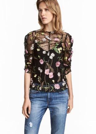 Блуза-сетка с вышивкой в цветы h&m! вышивка и рюши!
