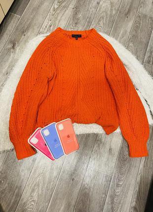 Вязаный мягкий плюшевый свитер светр оверсайз морковный