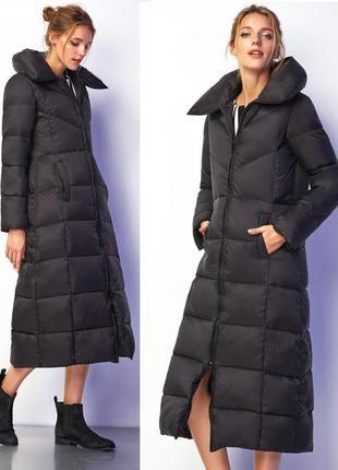 Черное пуховое супер теплое длинное пальто c объемным воротником