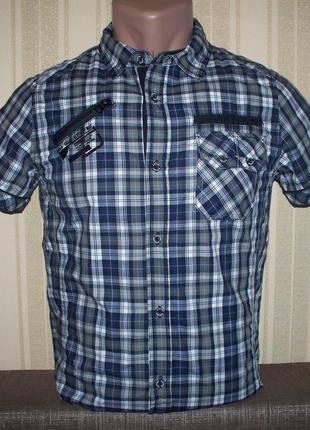 Рубашка (шведка) в клетку для мальчиков 164 венгрия (серый)