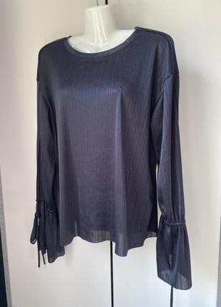 Актуальный топ блуза от zara с удлинённым рукавом на кулиске с разрезами