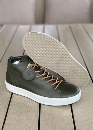 Чоловічі черевики ecco men's soft 8 high top- magnet 450964 зелені шкіра