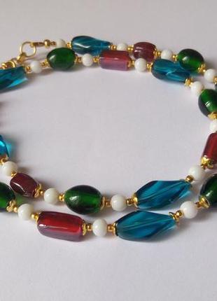 Ожерелье, разноцветное  стекло лэмпворк. италия