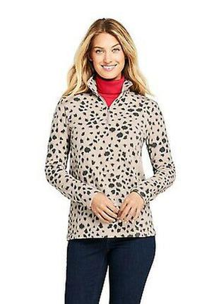 Женский флисовый пуловер флиска с принтом на молнии