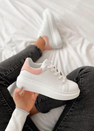 Белые кеды криперы кроссовки кроссы с розовым задником