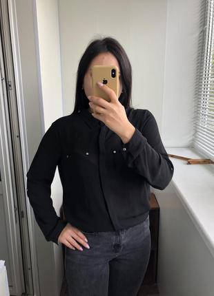 14 размер чёрная базовая рубашка блузка блуза