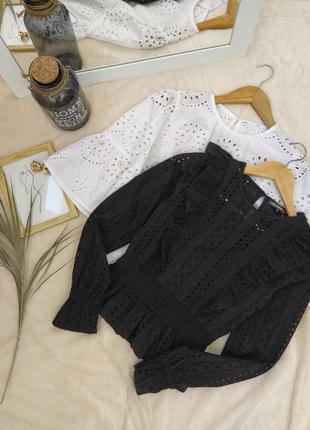 Роскошная черная блуза из прошвы tally weijl