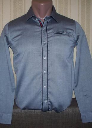 Рубашка однотонная приталенная для мальчиков 134 венгрия