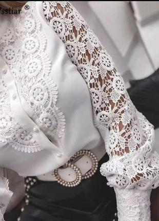 Блуза креп шифон /хлопковое кружево фабричный китай 🇨🇳