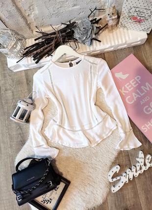 Распродажа ❤️нежная белая блуза рукав клёш
