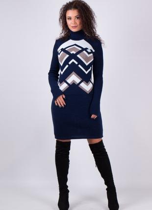 Теплое вязаное платье