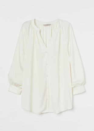Атласная блузка женская молочная кремовая h&m
