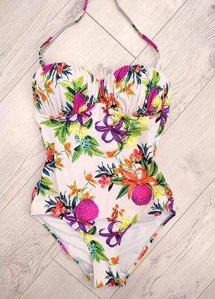 Суцільний сдельний купальник бандо анджеліжа в квіточки