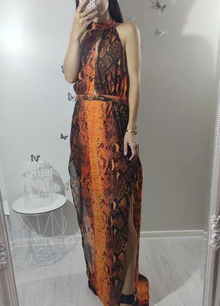 Оранжевый сарафан платье змеиный принт открытая спина 🔥