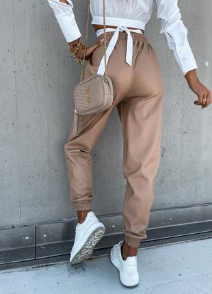 Джоггеры штаны брюки екокожа