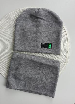 Набір дитяча шапка+баф на голову ангорова шапочка з шарфом