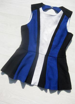 Стильная фактурная блуза с баской h&m в полоску