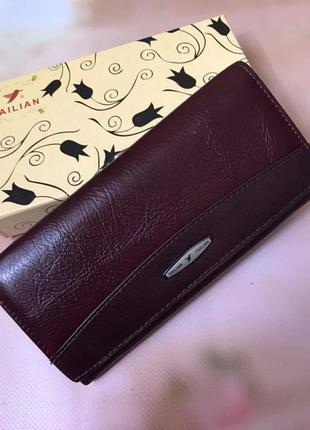 Кожаный кошелек под ровную купюра. красный и бордо
