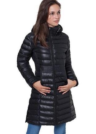 Новое термо пальто/куртка/парка geographical norway s/m, l/xl чёрный глянец