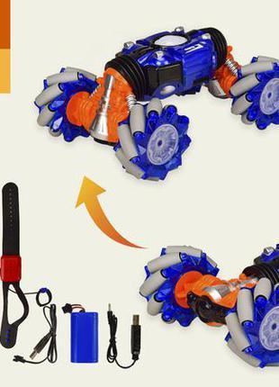Трюковая машинка перевертыш на радиоуправлении 40см с пультом и браслетом 1826-1, сине-оранжевый