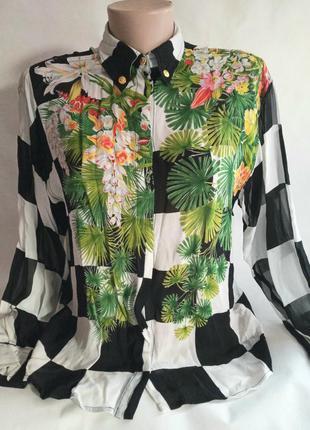 Брендовая блкза блузка рубашка сорочка в принт клетка клеточка тропики