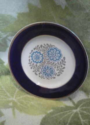 Тарелка кобальтовая с позолотой фарфоровая для второго