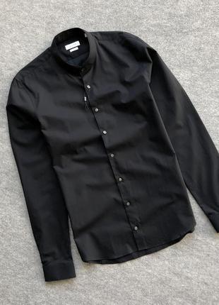 Класична оригінальна чорна сорочка calvin klein extra slim classic shirt black