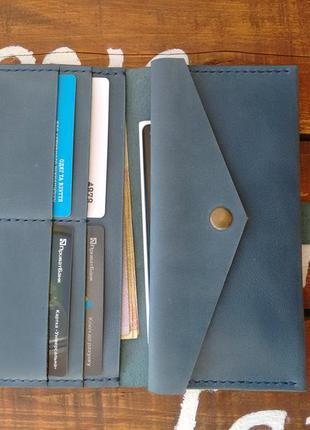 Кожаное портмоне на хлястике. ww - 001. ручная работа. цвет голубой