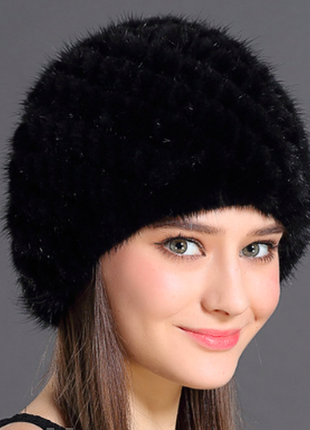Меховая шапка из натуральной вязанной норки.1