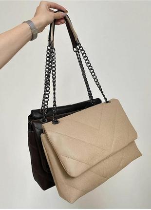 Бежева сумка клатч прошита стёганая сумочка женская клатч бежевый